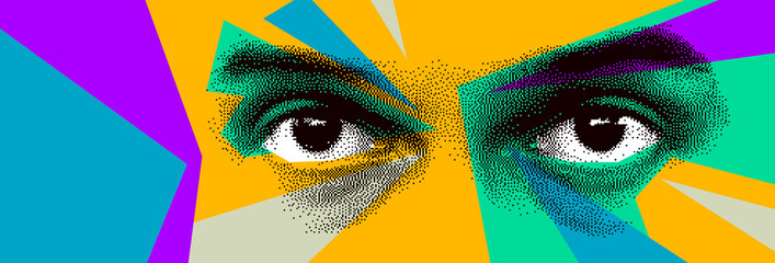 Fototapeta Looking eyes 8 bit dotted design style vector abstraction, human face stylized design element, with colorful splats. obraz