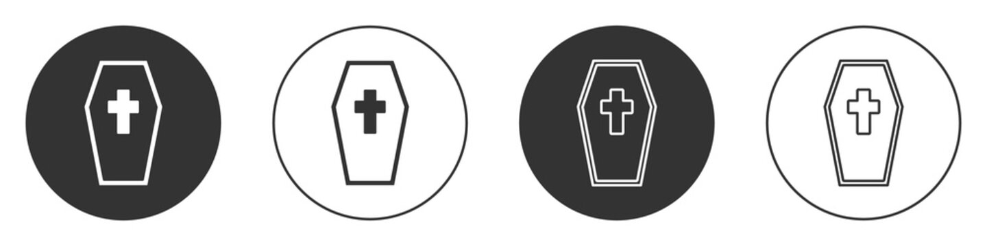 Black Coffin with christian cross icon isolated on white background. Happy Halloween party. Circle button. Vector