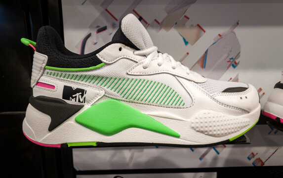 SHEFFIELD, UK - 2ND JUNE 2019: A side view of the PUMA X MTV RS-X Tracks trainer for sale in a shop in the UK