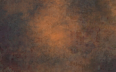Obraz Grunge distressed orange brown textured design, old warm autumn background, grain illustration backdrop - fototapety do salonu