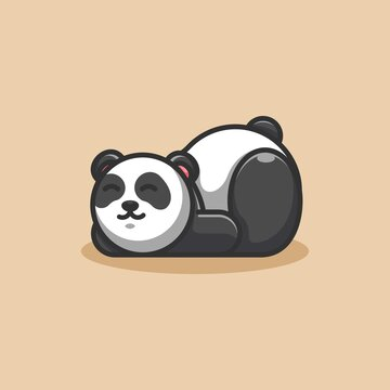 Cute lazy panda cartoon mascot
