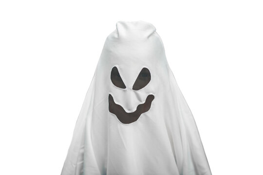 Child wearing alloween ghost costume isolated on white background