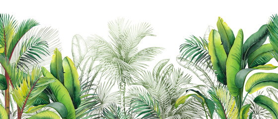 Fototapeta Seamless watercolor border with green tropical foliage. obraz