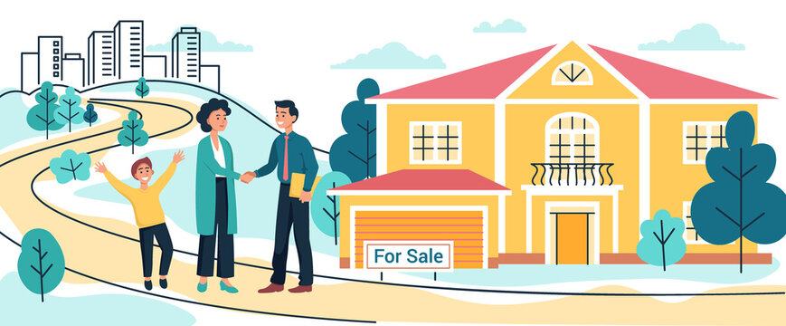 Mother and son buy or rent new country house or cottage. Realtor man signs a contract to sell the house, Moving to new home, vector illustration