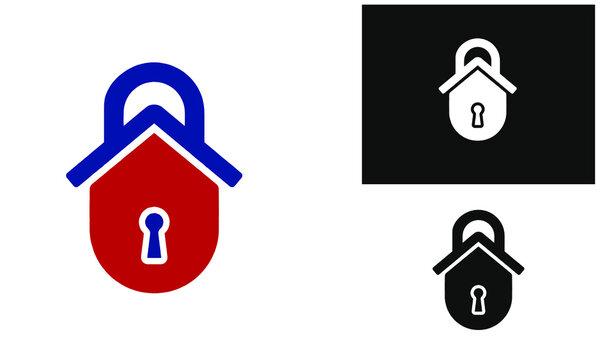 locksmith icon using keyhole house and lock