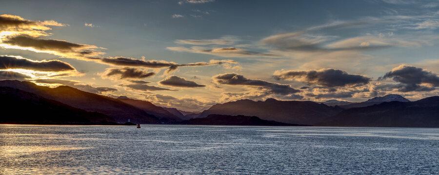 Sunrise over Loch Alsh in the Scottish Highlands