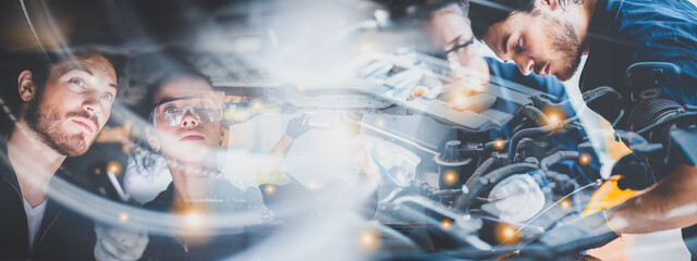 Fototapeta panorama banner background of mechanic working about auto car engine service, technician having automotive job to maintenance or repair automobile in motor garage, business industrial auto car engine obraz