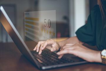 Obraz Customer review good rating concept, customer review by five star feedback, positive customer feedback testimonial. - fototapety do salonu