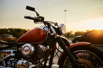 Freedom. Old motorcycle under the sky. old motorcycle at sunset. motorcycle chopper