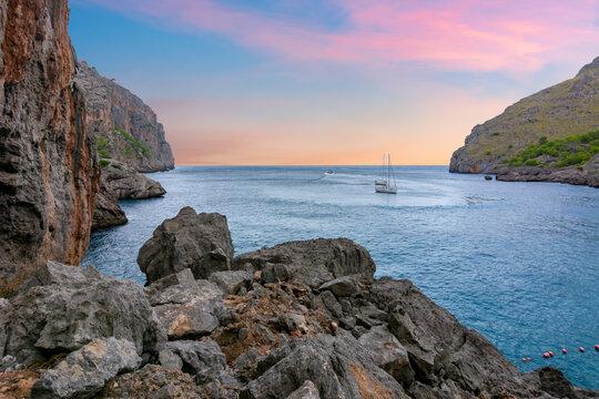 Sa Calobra bay on Mallorca at sunset, Balearic islands, Spain
