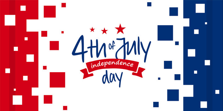 4th of July, USA, United States of America independence day celebration design on modern contemporary red and blue color background template for poster, banner, postcard, flyer, greeting, etc.