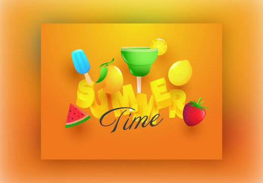 3D Summer Text with Realistic Fruits, Ice Cream and Lemonade Cocktail on Orange Background