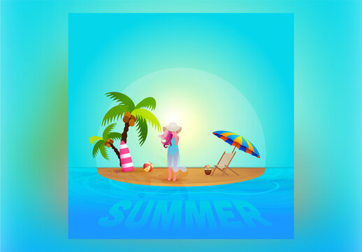 Beautiful Sun Beach Background with Realistic Elements and Modern Girl