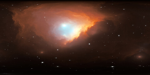 360 degree interstellar cloud of dust and gas. Space background with nebula and stars. Glowing nebula, equirectangular projection, environment map. HDRI spherical panorama