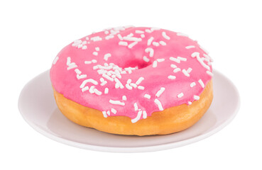 Wall Murals Sweet Monsters Pink donut on a plate isolated on white background