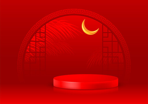 Asian style 3D scene with products display podium. Template for products advertising, presentation and promotion. Realistic pedestal on luxury red background with arch window. Vector illustration.
