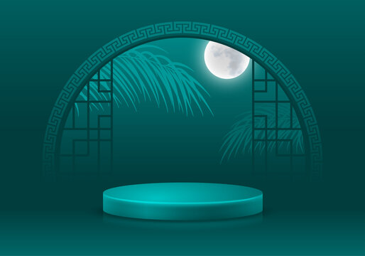 Asian style 3D scene with products display podium. Template for products advertising, presentation and promotion. Realistic pedestal on classic teal background with arch window. Vector illustration.