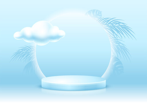 3D Scene with products display podium. Template for products advertising, presentation and promotion. Realistic circular pedestal on gentle blue background with tropical leaves. Vector illustration.