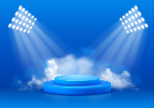 3D Scene with display podium. Template for products presentation, promotion or award ceremony. Realistic circular pedestal illuminated by spotlights on blue background with smoke. Vector illustration