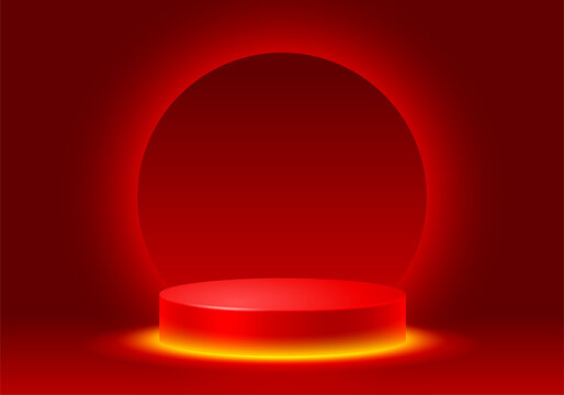 3D Scene with products display podium. Template for products advertising, presentation and promotion. Realistic circular pedestal with neon illumination on luxury red background. Vector illustration.