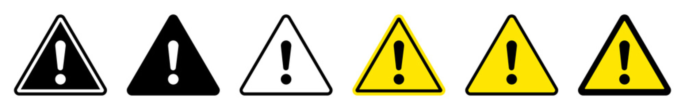 Exclamation mark of warning attention icon. Triangular warning symbols with Exclamation mark. Caution alarm set, danger sign collection, attention vector icon. Vector illustration.