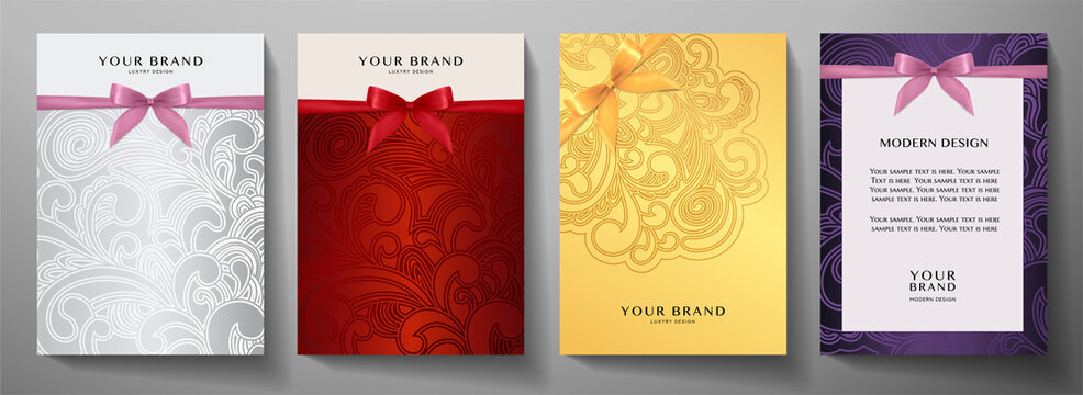 Holiday cover, frame design set. Luxury silver, gold, red background with ribbon (bow). Elegant vector collection template for invitation (invite vip card), greeting or gift card, award