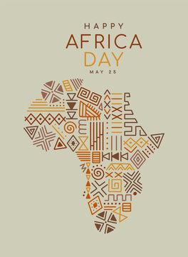 Africa Day tribal art icon cartoon african map