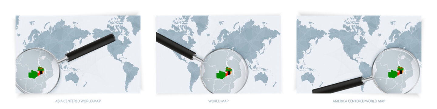 Blue Abstract World Maps with magnifying glass on map of Zambia with the national flag of Zambia. Three version of World Map.