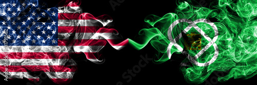 United States of America, America, US, USA, American vs Japan, Japanese, Eniwa, Hokkaido, Ishikari, Subprefecture smoky mystic flags placed side by side. Thick colored silky abstract smoke flags.