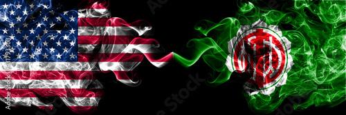 United States of America, America, US, USA, American vs Japan, Japanese, Nakasatsunai, Hokkaido, Tokachi, Subprefecture smoky mystic flags placed side by side.