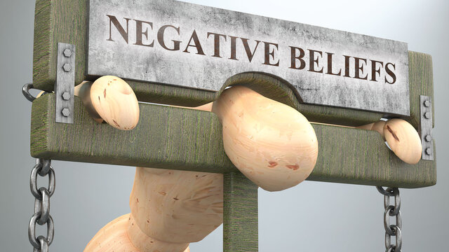 Negative beliefs that affect and destroy human life - symbolized by a figure in pillory to show Negative beliefs's effect and how bad, limiting and negative impact it has, 3d illustration