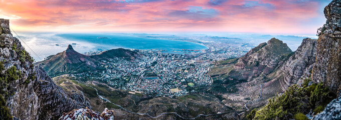 Scenic View of Cape Town central, South Africa from the top of Table Mountain