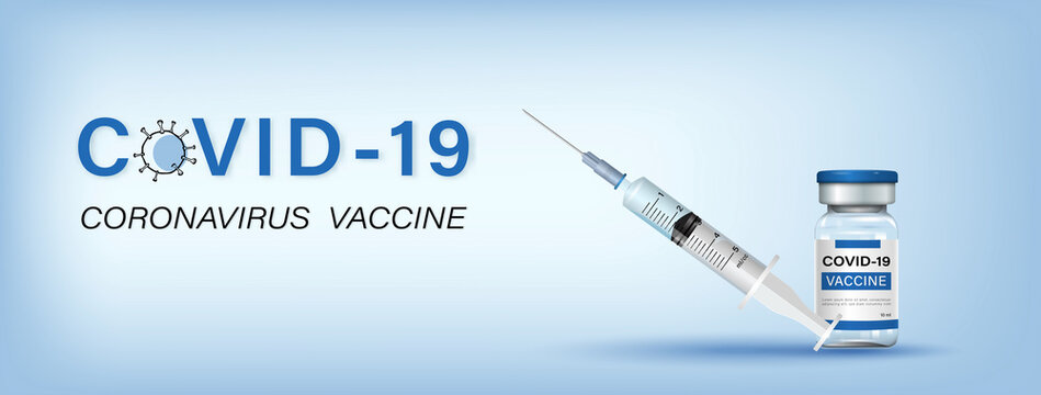 Covid-19 vaccine bottle with syringe and needle in light blue banner background with text, vector illustration