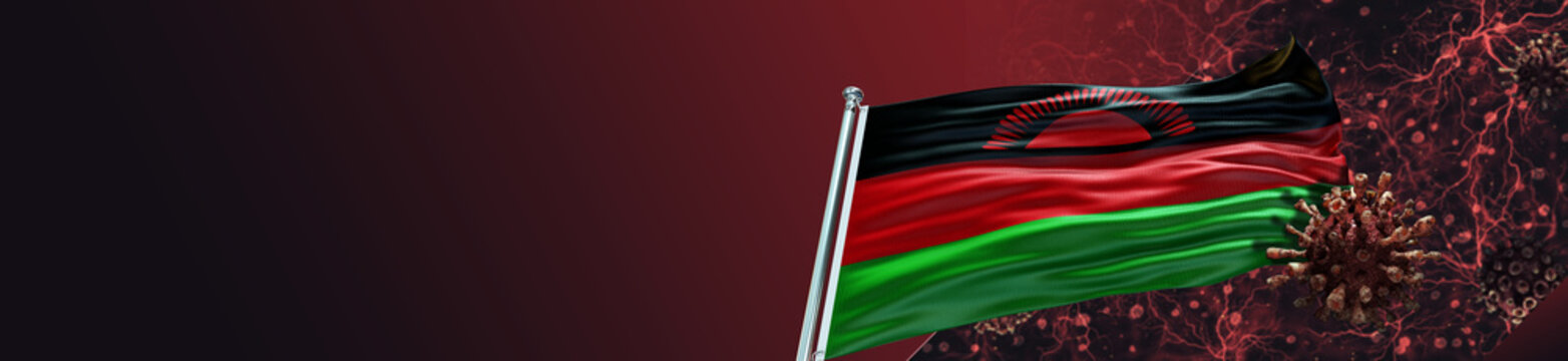 Malawi Flag with Coronavirus Covid-19 in Blood and large Gradient Single Flag
