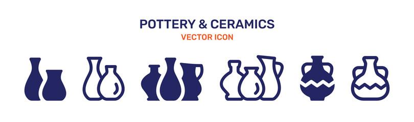 Obraz Ceramic Vase icon set. Pottery concept. Vector illustration - fototapety do salonu
