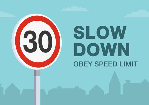 Safety driving rules. Obey the speed limit warning road sign. Close up view. Residential area and living street road. Flat vector illustration template.