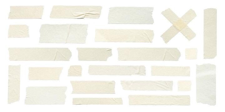 Close up of adhesive tape wrinkle set on white background