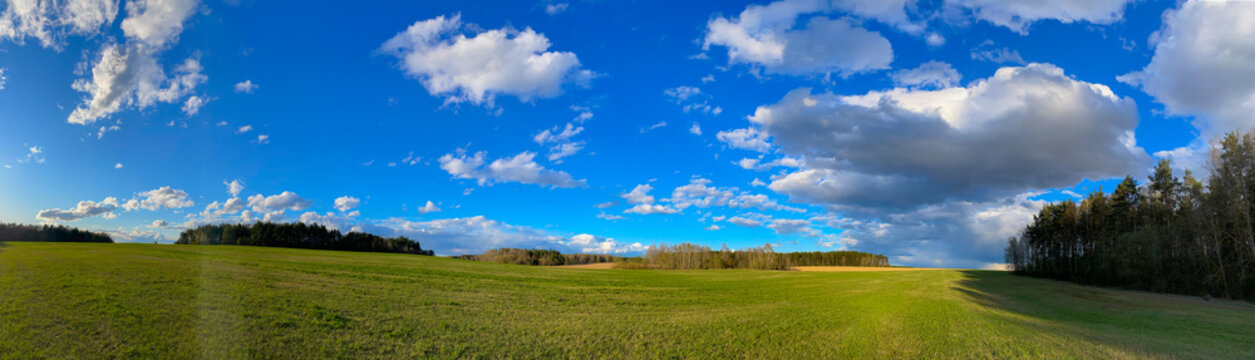 Panorama Clouds on a sunny day on the background of the forest