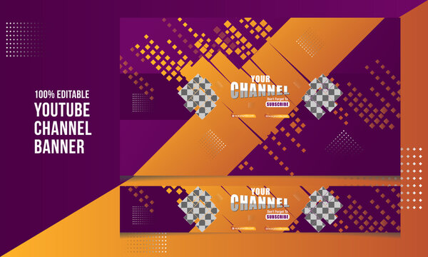 Modern YouTube Channel Banner Cover for Youtubers and Others Promotional Video Channel Cover Template