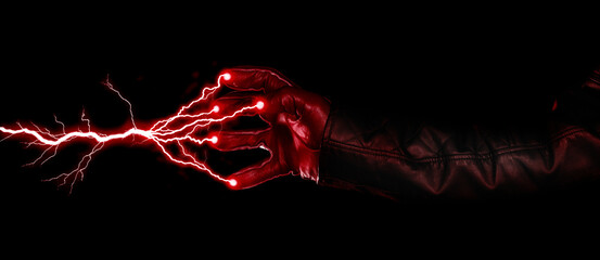 Hand shooting out a bolt of lightning - Dark and mysterious