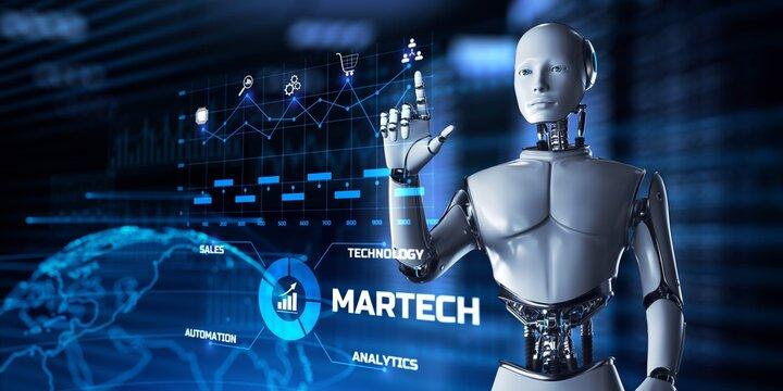 Martech Digital marketing automation technology concept. Robot pressing button on screen 3d render