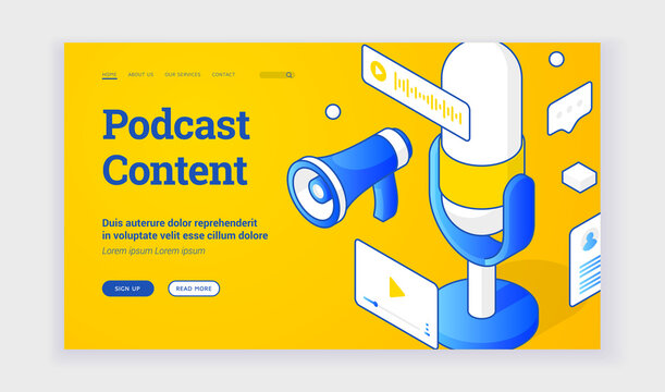 Vector illustration of audio devices for interesting podcast content recording depicted near description and link button on advertisement banner. Isometric web banner, landing page template