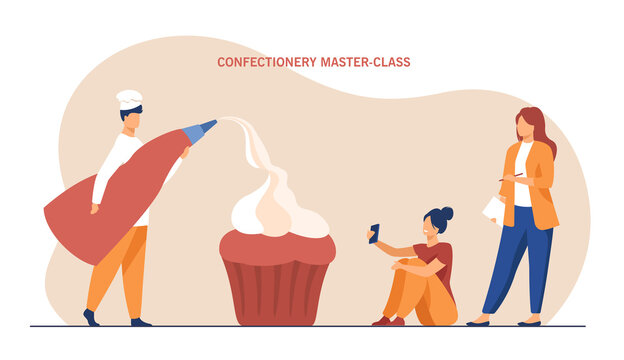 Tiny confectioner leading workshop for two women. Flat vector illustration. Pastrycook holding pastry bag, decorating giant cupcake with creme. Confectionary, pastry, workshop, masterclass concept
