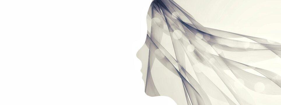 抽象的な人の横顔のイラスト