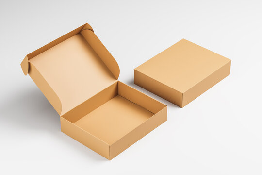 Opened and closed cardboard boxes on a white background. Packaging, gift. Mock up. 3d rendering