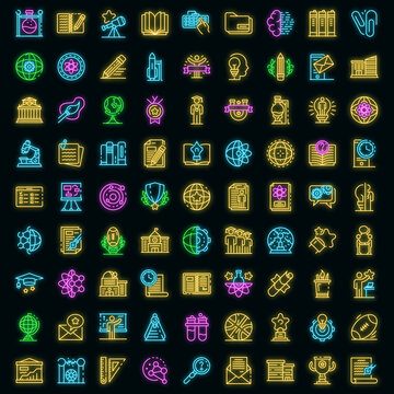 University icons set. Outline set of university vector icons neoncolor on black