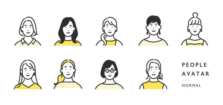 女性の上半身アイコンのイラスト素材