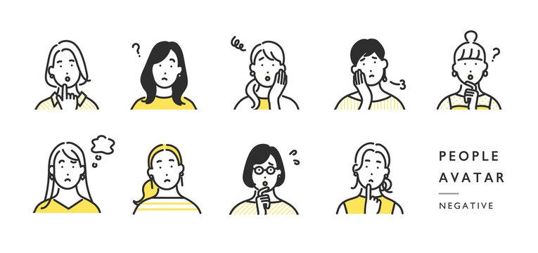 ネガティブな顔の女性の上半身アイコンのイラスト素材