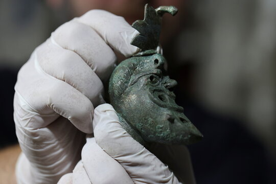 Bronze oil lamp, dating from Roman Period, uncovered during excavations at Jewish heritage site in East Jerusalem