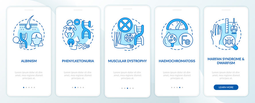 Most common genetic disorders blue onboarding mobile app page screen with concepts. Illness walkthrough 5 steps graphic instructions. UI, UX, GUI vector template with linear color illustrations